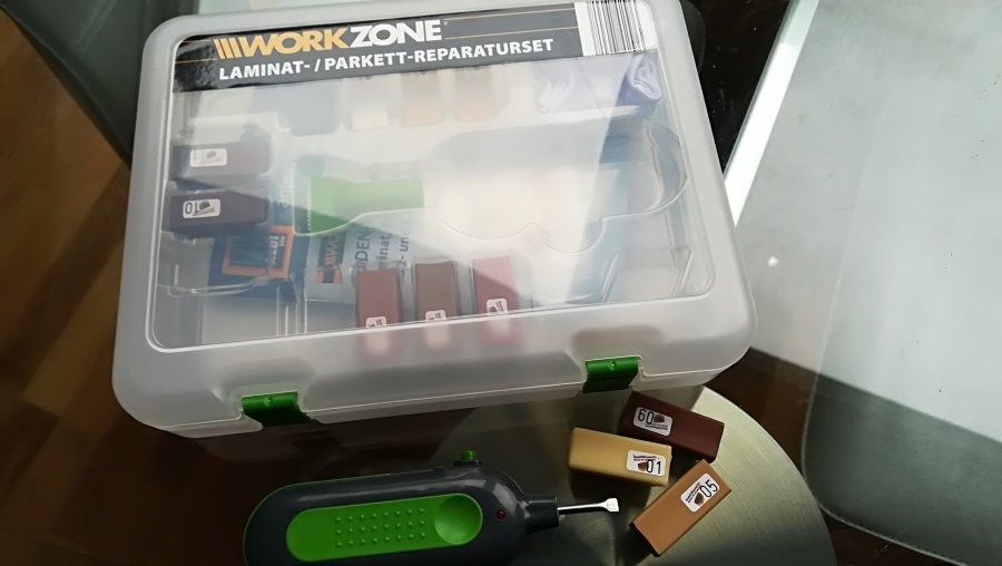 Das Aldi Workzone Reparaturset für Parkett und Laminat